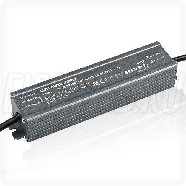Блок питания 100W — 12V, 8.33A, PFC (IP67, Металл-SP)
