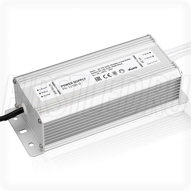Блок питания 100W — 12V, 8.3A (IP67, Металл-D)