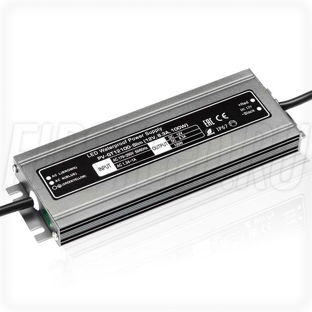 Блок питания 100W — 12V, 8.3A (IP67, Металл-GT-Slim)