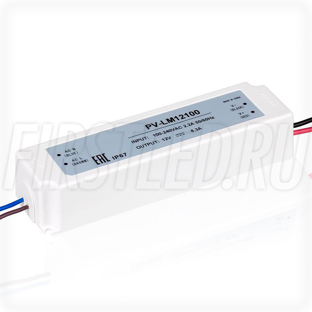 Блок питания 100W — 12V, 8.3A (IP67, Пластик-LM)