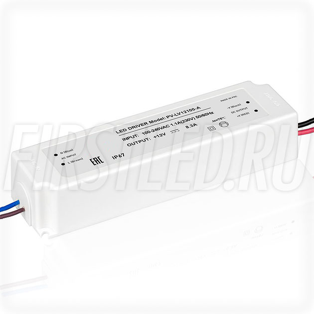 Блок питания 100W — 12V, 8.3A (IP67, Пластик-LVA)