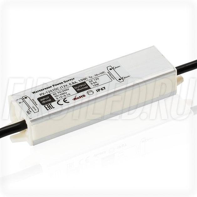 Блок питания 10W — 12V, 0.8A (IP67, Металл-C)