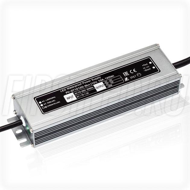 Блок питания 120W — 12V, 10A (IP67, Металл-GT-Slim)