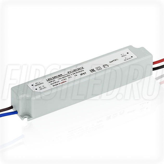 Блок питания 12W — 12V, 1A (IP67, Пластик-LM)