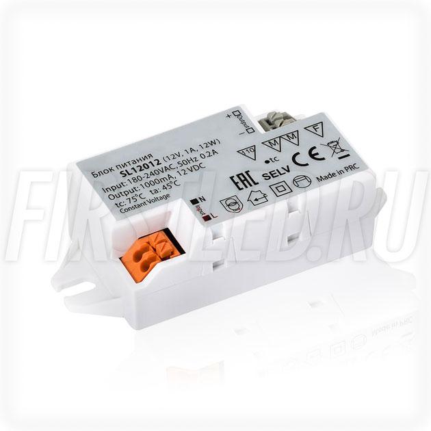 Блок питания 12W — 12V, 1A (Компактный, Пластик-SL)