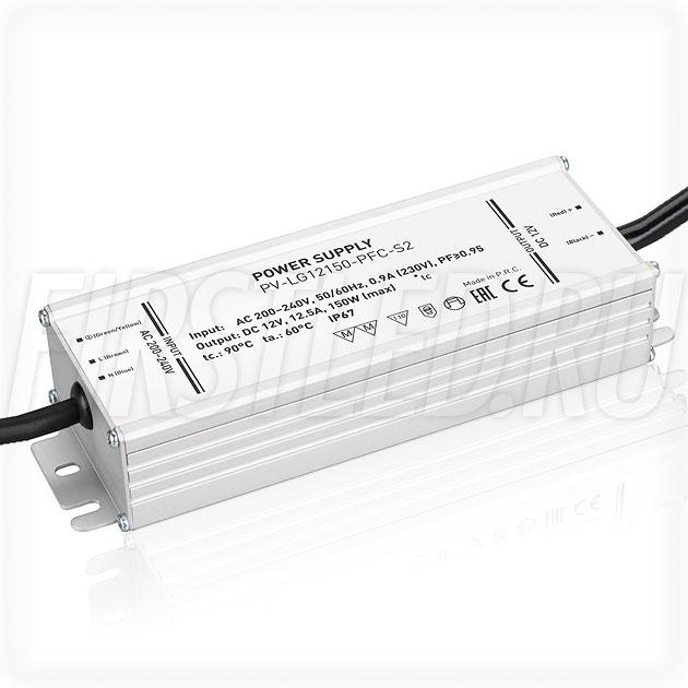 Блок питания 150W — 12V, 12.5A, PFC (IP67, Металл-LGS)