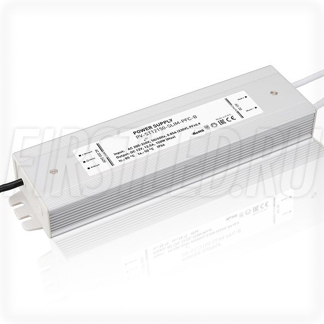Блок питания 150W — 12V, 12.5A, PFC (IP67, Металл-STB-Slim)