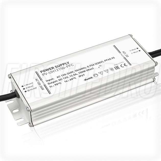Блок питания 150W — 12V, 12.5A, PFC (IP67, Металл-UH)