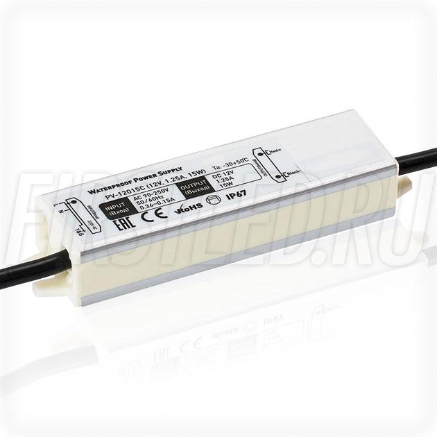Блок питания 15W — 12V, 1.25A (IP67, Металл-C)