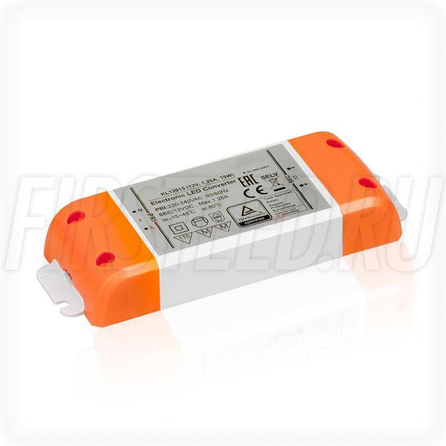 Блок питания 15W — 12V, 1.25A (Компактный, Пластик-KL)