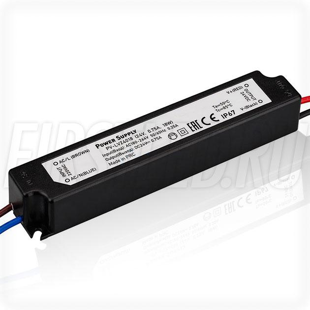 Блок питания 18W — 24V, 0.75A (IP67, Пластик-LV)
