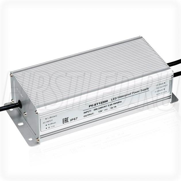 Блок питания 200W — 12V, 16.7A (IP67, Металл-ST)