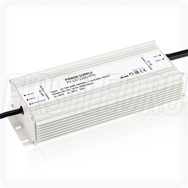 Блок питания 200W — 12V, 16.7A, PFC (IP67, Металл-LG)