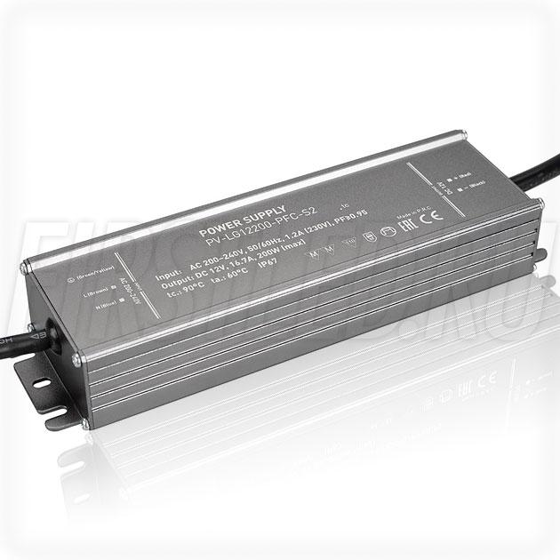 Блок питания 200W — 12V, 16.7A, PFC (IP67, Металл-LGS)