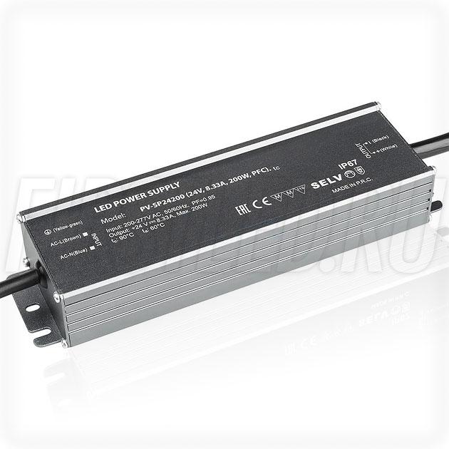 Блок питания 200W — 24V, 8.33A, PFC (IP67, Металл-SP)