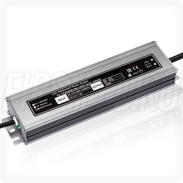 Блок питания 200W — 24V, 8.3A (IP67, Металл-GT-Slim)