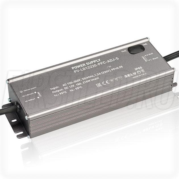 Блок питания 216W — 10,5-13,5V, 10.8-18A, PFC (IP65, Металл-LG-ADJ)
