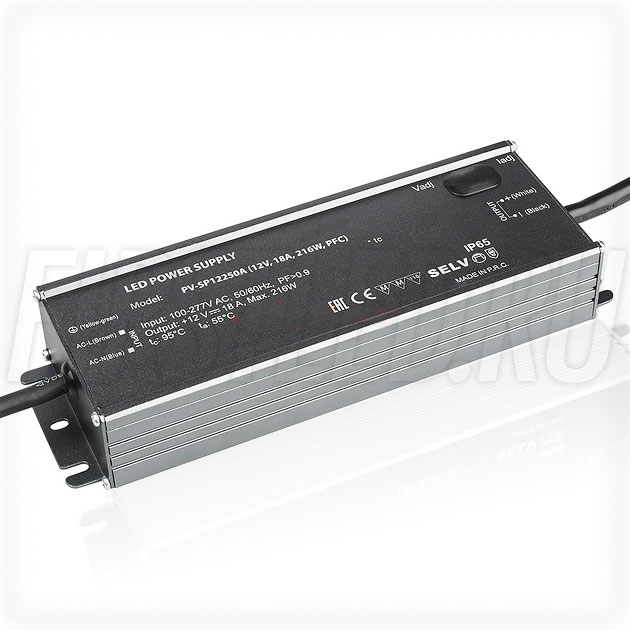 Блок питания 216W — 10,5-13,5V, 10.8-18A, PFC (IP65, Металл-SPA)