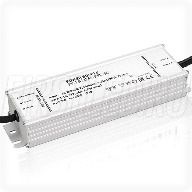 Блок питания 240W — 12V, 20A, PFC (IP67, Металл-LGS)