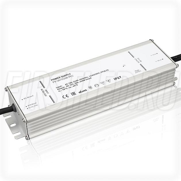 Блок питания 240W — 12V, 20A, PFC (IP67, Металл-UH)