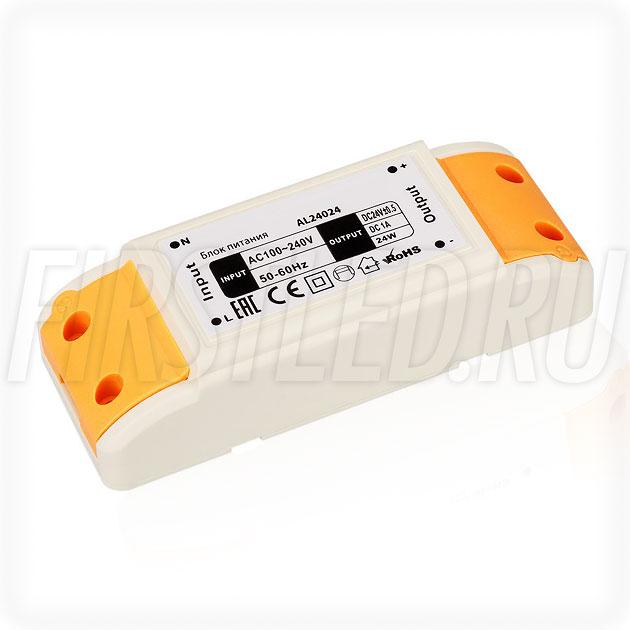Блок питания 24W — 24V, 1A (Компактный, Пластик-AL)