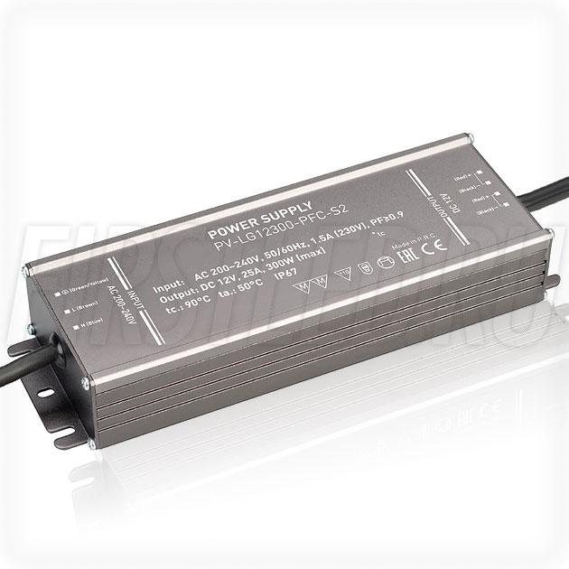 Блок питания 300W — 12V, 25A, PFC (IP67, Металл-LGS)