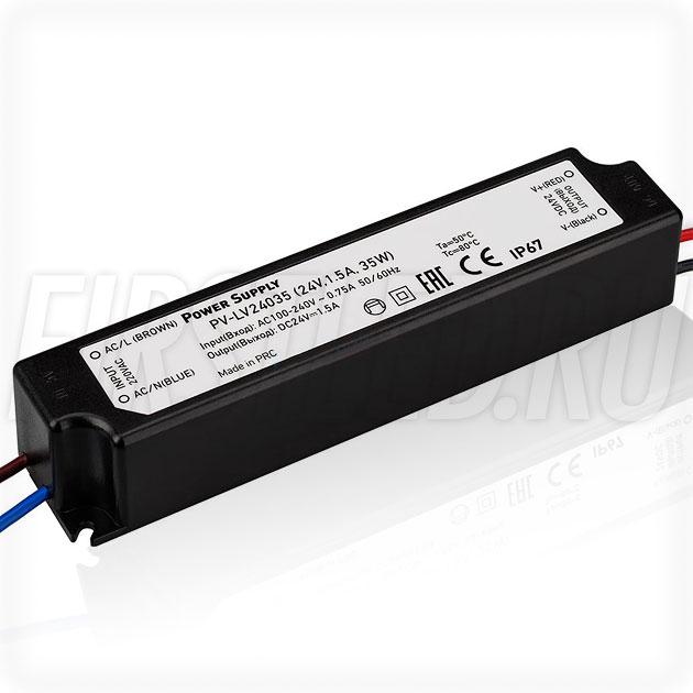 Блок питания 35W — 24V, 1.5A (IP67, Пластик-LV)