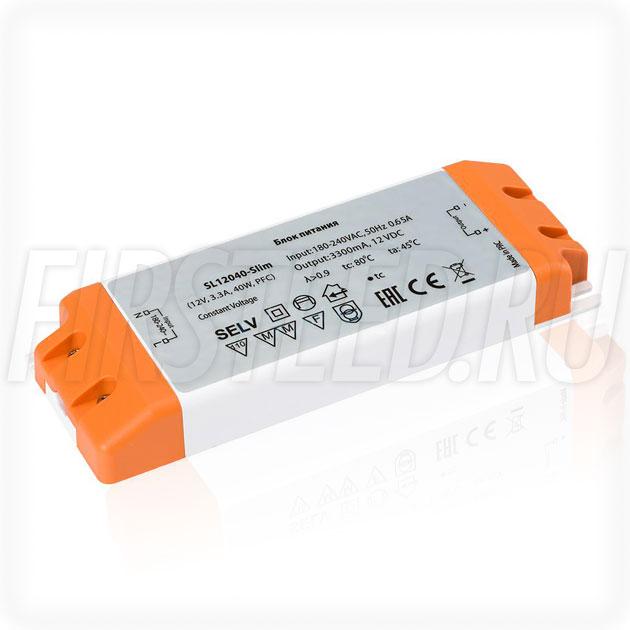 Блок питания 40W — 12V, 3.3A, PFC (Компактный, Пластик-SL)