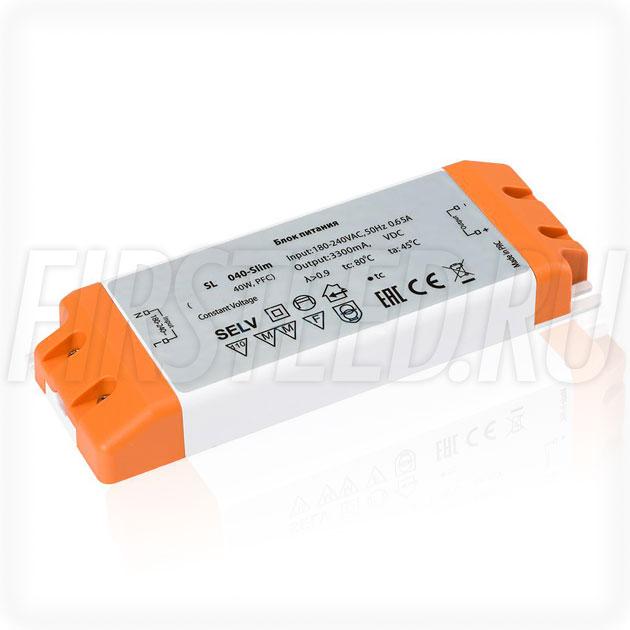 Блок питания 40W — 24V, 1.67A, PFC (Компактный, Пластик-SL)