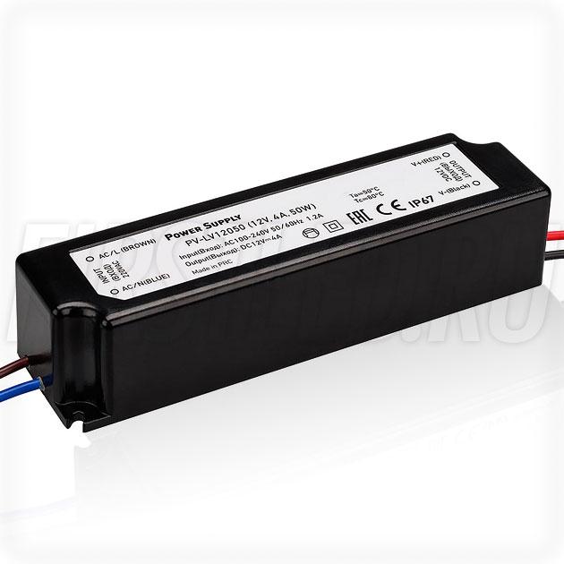 Блок питания 50W — 12V, 4A (IP67, Пластик-LV)