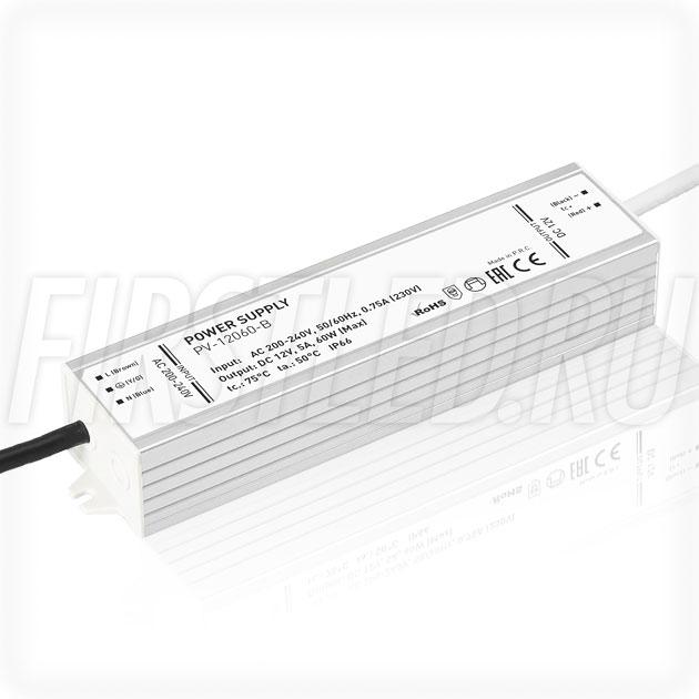 Блок питания 60W — 12V, 5A (IP67, Металл-B)