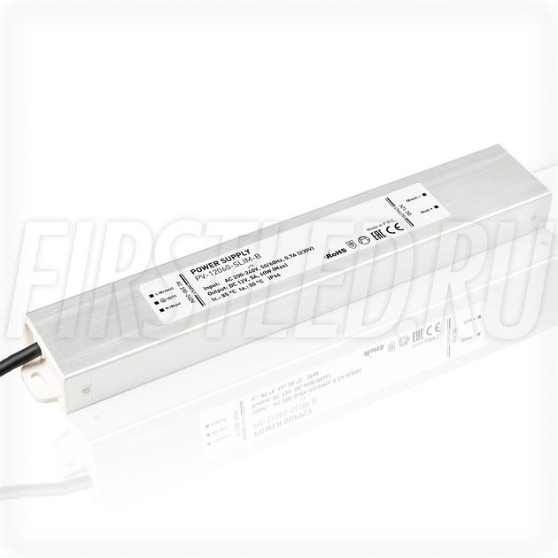 Блок питания 60W — 12V, 5A (IP67, Металл-B-Slim)
