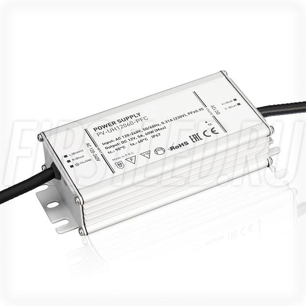 Блок питания 60W — 12V, 5A, PFC (IP67, Металл-UH)