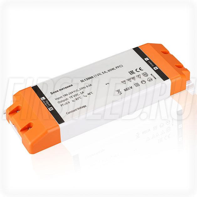 Блок питания 60W — 12V, 5A, PFC (Компактный, Пластик-SL)