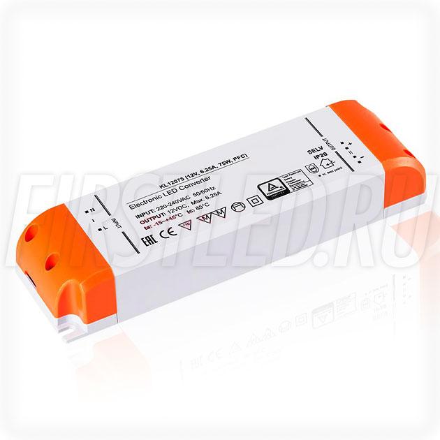 Блок питания 75W — 12V, 6.25A, PFC (Компактный, Пластик-KL)