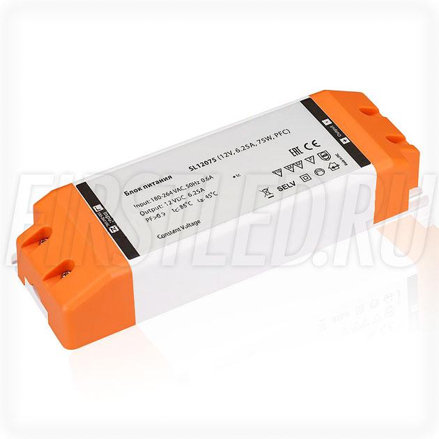 Блок питания 75W — 12V, 6.25A, PFC (Компактный, Пластик-SL)