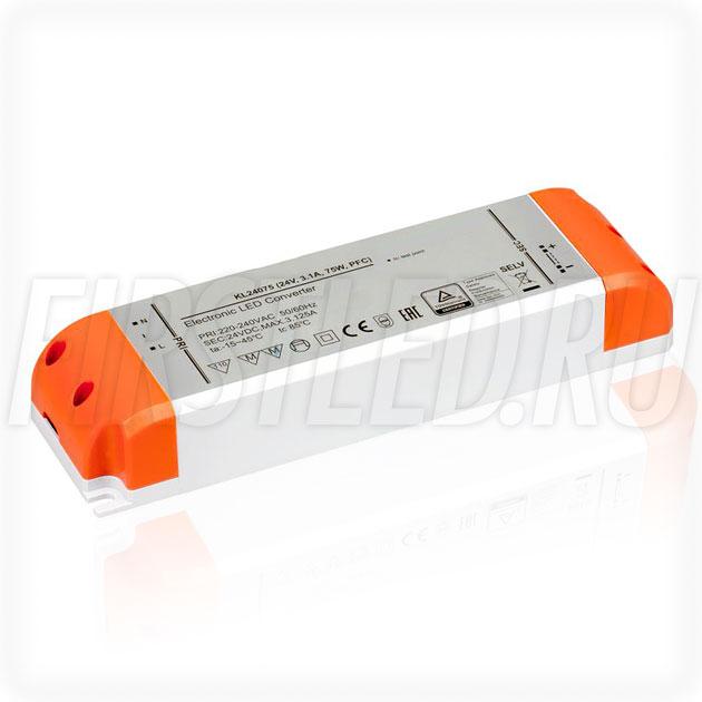 Блок питания 75W — 24V, 3.1A, PFC (Компактный, Пластик-KL)
