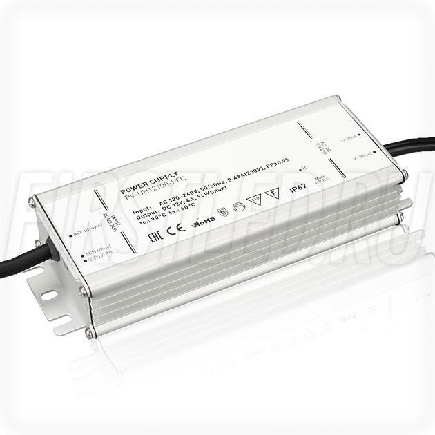 Блок питания 96W — 12V, 8A, PFC (IP67, Металл-UH)