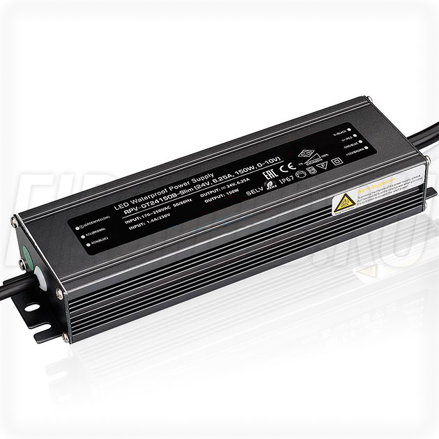 Диммируемый блок питания 150W — 24V, 6.25A, 0-10V (IP67, Металл-GT-Slim)