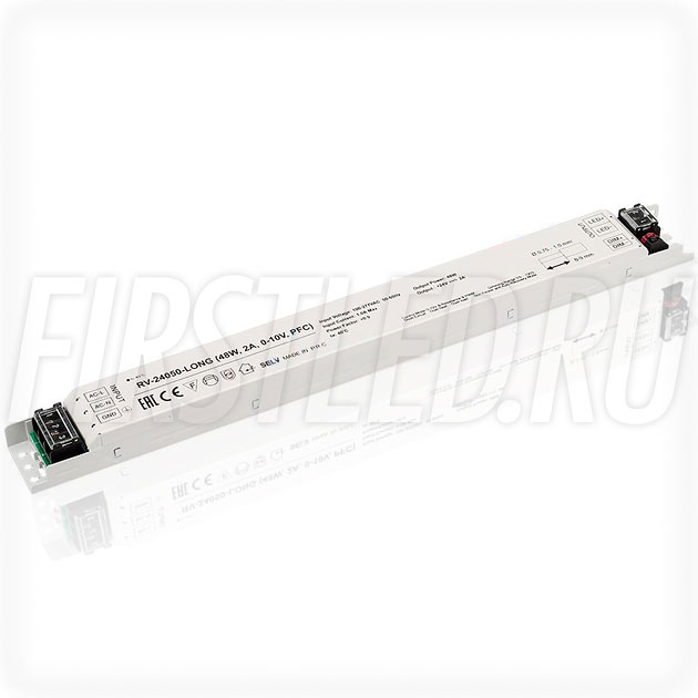Диммируемый блок питания 48W — 24V, 2A, 0-10V, PFC (IP20, Металл-Long)