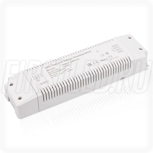 Диммируемый блок питания 75W — 12V, 6.2A, DALI (IP20, Пластик-D)