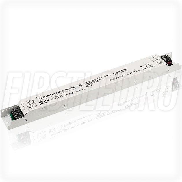 Диммируемый блок питания 96W — 24V, 4A, 0-10V, PFC (IP20, Металл-Long)