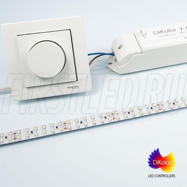 Управление светодиодной лентой IAMLED MONO 240 при помощи светодиодного контроллера DiKolor 1-10V и поворотного диммера 1-10V