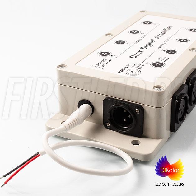 DMX усилитель DiKolor DMX AMP-8CH (12/24V) питается от постоянного напряжения 12 ил 24V DC