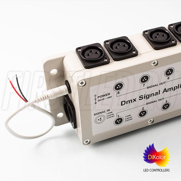 DiKolor DMX AMP-8CH (12/24V) — Усиление сигнала DMX одновременно на 8 выходов!