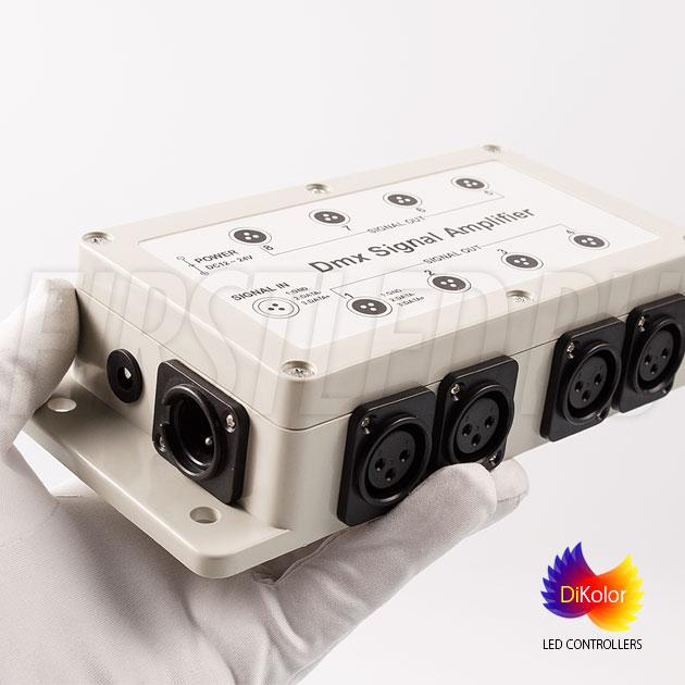 DiKolor DMX AMP-8CH (12/24V) – это восьми-канальный усилитель сигнала dmx