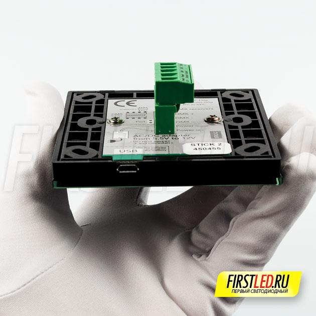 STICK 2 — подключение для программирования контроллера через USB, специальная колодка для подключения DMX и питания