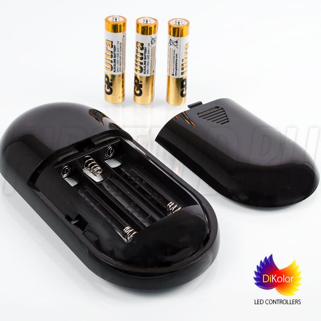 Светодиодный контроллер DiKolor JUST RGB (черный пульт) — питание от трех батареек ААА