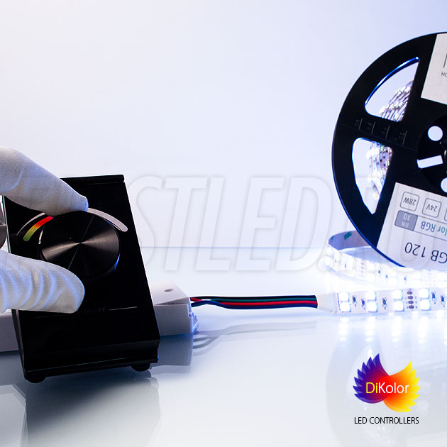 Выберите цвет по настроению, нажмите два раза на колесо DiKolor Table RGB и отрегулируйте яркость подсветки