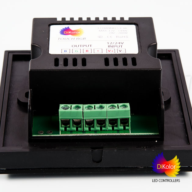 DiKolor TOUCH RGB — сенсорный контроллер, подключение светодиодной ленты и блока питания 12/24V DC